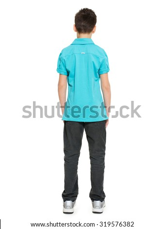 Full portrait of teen boy standing back in casuals - isolated on white background