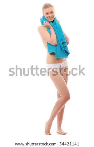 Full portrait of young beautiful topless caucasian woman with blue towel on her neck isolated on white background - stock photo