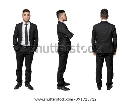 Full portrait of young business man, arms crossed his chest, in pocket, isolated on a white background - stock photo