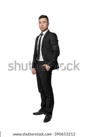 Full portrait of young business man, put his hand in pocket, isolated on a white background