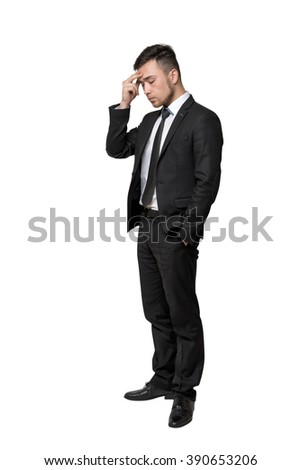 Full portrait of young man in business suit, thinking about something, isolated on a white background