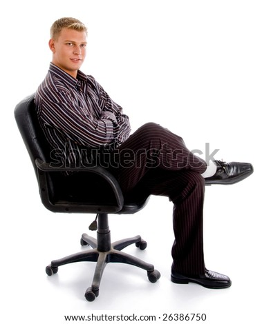 full pose of stylish successful person sitting on the chair against white background - stock photo