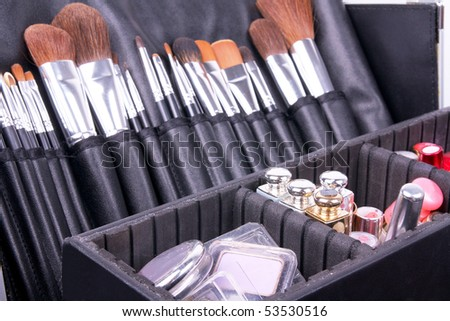 Full professional make-up case, closed-up - stock photo