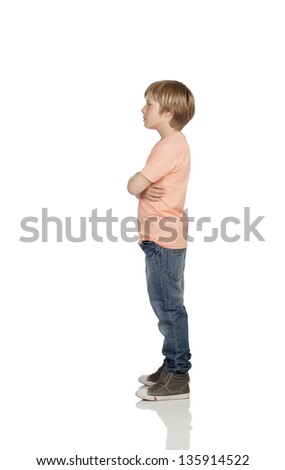 Full profile of a angry adolescent with serious gesture isolated on white background - stock photo