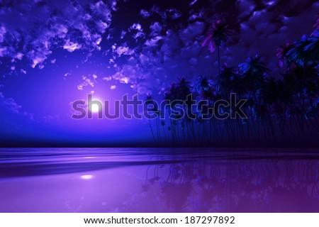 full purple moon over coconut island at tropic sea - stock photo