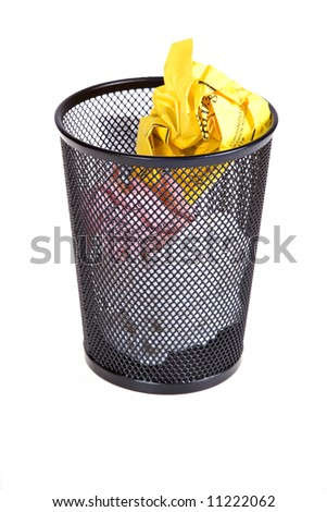 Full Recycle Bin Isolated - stock photo