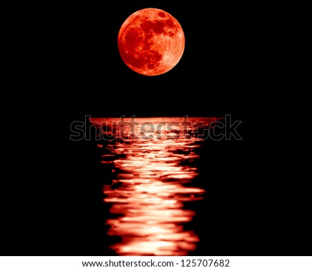 Full red moon with reflection closeup showing the details of the lunar surface.As seen from Varna,Bulgaria - stock photo