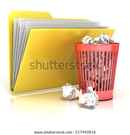 Full red recycle bin folder icon, 3D render illustration, isolated on white background - stock photo