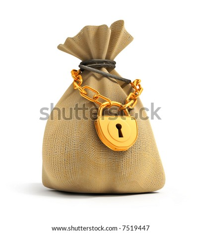 Full sack locked by gold lock on the gold chain isolated 3d model illustration - stock photo
