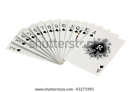 Full set of ace suit playing cards isolated on white background