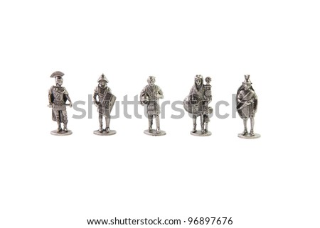 Full set of antique Rome soldiers made of tin - stock photo