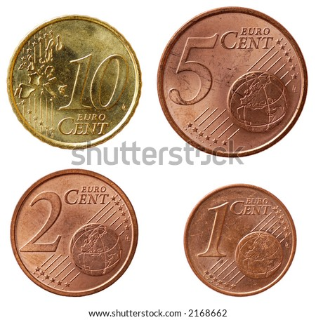 Full set of euro coins in high resolution - part 2 - stock photo