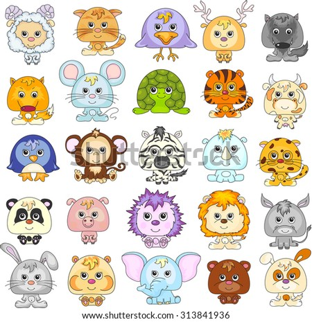 vector set cute cartoon animals zoo stock vector 397075540