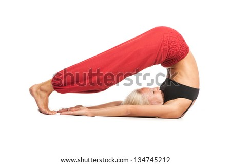 Full set of yoga asanas. Practicing Yoga. Young woman in traditional yoga clothes isolated on white background
