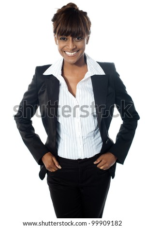 Full shot of female executive posing with copy space isolated over white background
