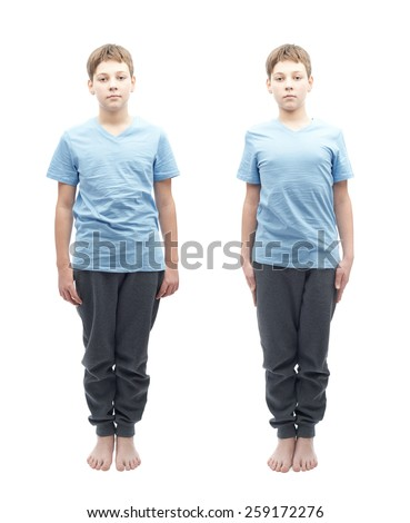 Full shot portrait of a caucasian 12 years old children boy in a blue t-shirt, set of two images, relaxed and focused - stock photo