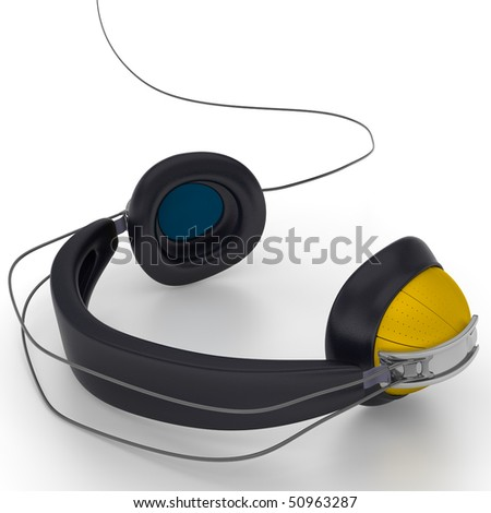Full size headphones on the white background. Illustration. 3d render.