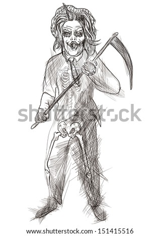 Full-sized (original) hand drawing. Halloween theme with scary monster. Reaper. Black outlines isolated on white. - stock photo