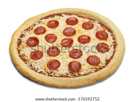 Full Sliced Pizza Isolated on White Background. - stock photo