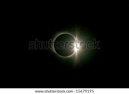 full solar eclipse, diamond ring - stock photo