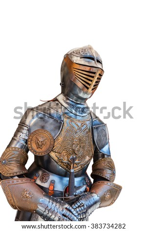 Full suit of Gothic plate armor isolated on white. - stock photo