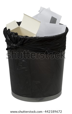 Full trash bin. Recycle paper concept. Isolated on white background. - stock photo