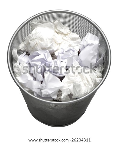 full Trash can isolated on white background - stock photo