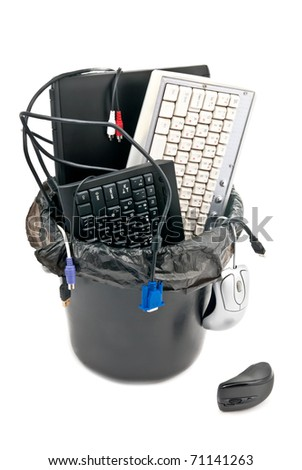 Full trash of used computer hardware. Notebook, keyboards, cables... Isolated on white - stock photo