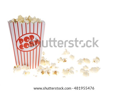 Full tub of popcorn on a white background