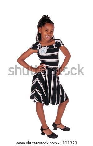 full view of a cute African American girl on white - stock photo