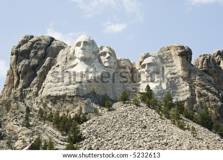 full view of Mount Rushmore National Monument in the Black Hills of South Dakota.