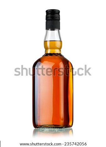 Full whiskey bottle - stock photo