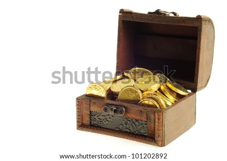Full wooden chest of a gold euro coins on a white background,
