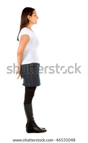 Fullbody casual woman to the side isolated over a white background - stock photo