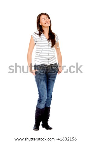 Fullbody pensive woman isolated over a white background