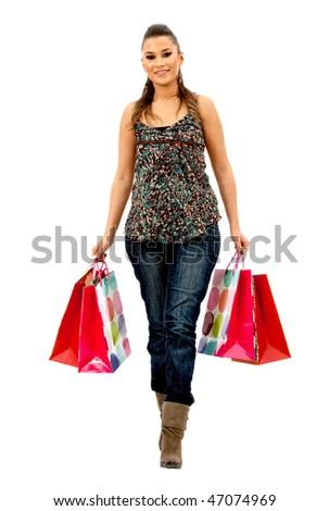 Fullbody shopping woman with bags isolated over a white background
