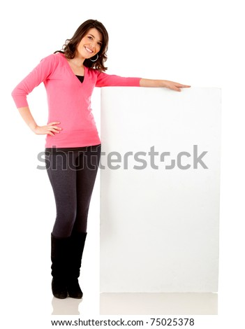 Fullbody woman holding a banner ad - isolated over a white background - stock photo