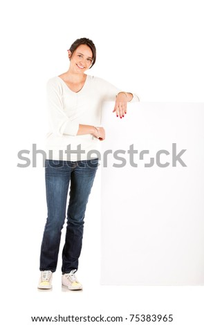 Fullbody woman holding a banner ad - isolated over a white background