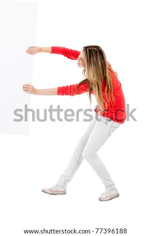 Fullbody woman pulling a banner ad - isolated over a white background