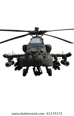 Fully armed army AH-64 Apache attack helicopter isolated on white - stock photo