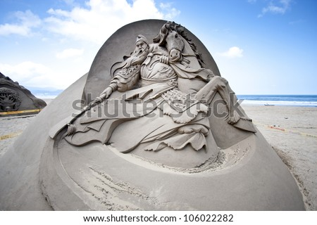 FULONG, TAIWAN-MAY 23,2012:a chinese god guan sand sculpture at Fulong beach for celebrating the Sand Sculpture Festival on May 23,2012 in Fulong,Taiwan