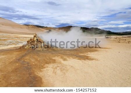 Fumarole in Hverarond Geothermal Field in Iceland - Hverarond is a geothermal field in Krafla caldera area which is full of mudpots, steam vents, sulphur deposits, boiling springs and fumaroles. - stock photo