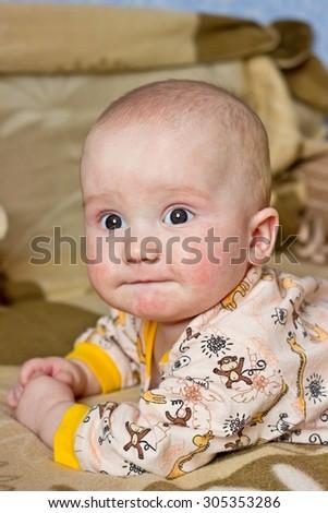 Fun adorable baby boy portrait - stock photo