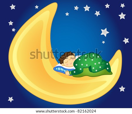 Fun and peaceful: little girl sleeping on the moon in the sky amongst the stars, perfect for a kids room. - stock photo