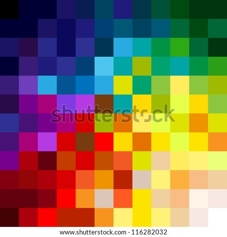 Fun and very colorful series of squares or pixels in all the colors of the spectrum, from light to dark. - stock photo