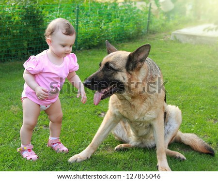 Fun baby looking on big dog on summer green background - stock photo