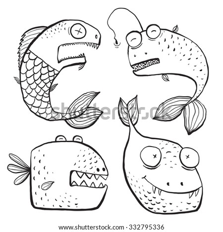 Fun Black and White Line Art Fish Characters Coloring Book Cartoon. Fun in black lines monochrome cartoon fishes for kids design illustrations. Raster variant. - stock photo
