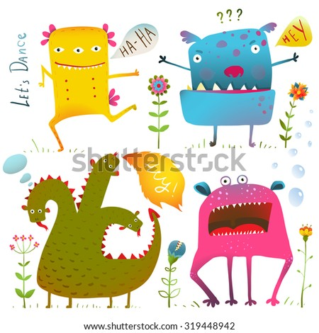 Fun Cute Kind Monsters for Children Design Colorful Collection. Vivid fabulous incredible creatures design elements set isolated on white. Raster variant. - stock photo