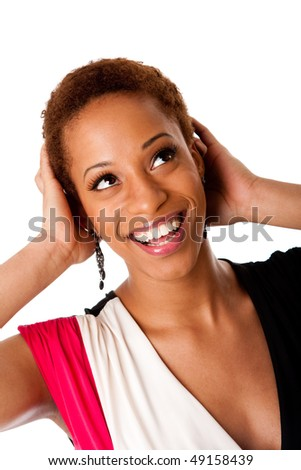 Fun face of beautiful African American business woman with big happy smile laugh and hands on head, isolated. - stock photo