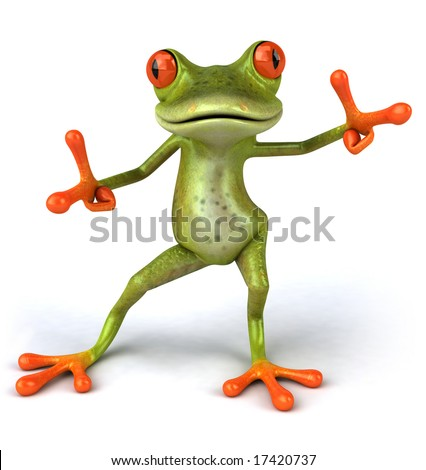 Fun frog dancing - stock photo
